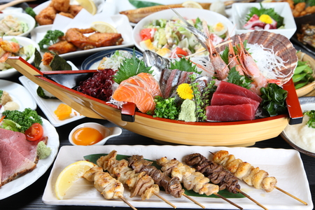 Various Japanese dishes Stock Photo