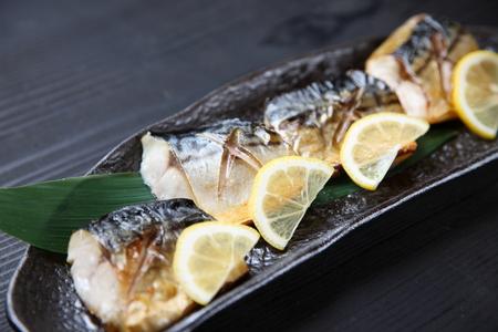studio shot of Japanese fresh roasted mackerel