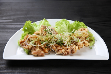 Chinese-style fried chicken topped with chopped scallions and sweet vinegar and soy sauce Stock Photo