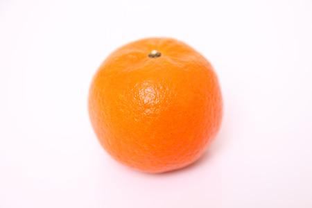 白い背景にオレンジ色の果物柑橘系タンカンのショットを閉じる