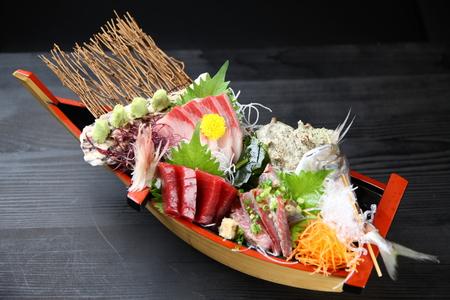 seasonal sashimi boat