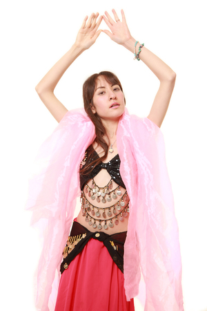 belly dancer on white background