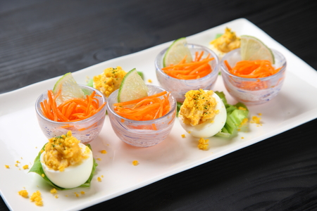 stuffed egg with carrot rappe