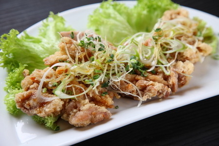 Chinese-style fried chicken topped with chopped scallions and sweet vinegar and soy sauce Banco de Imagens