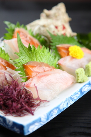 sashimi plate of salmon and snapper