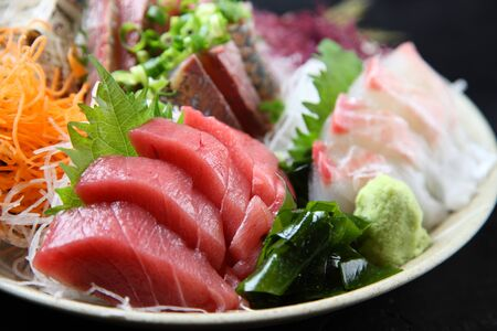 three types of fish sashimi plate