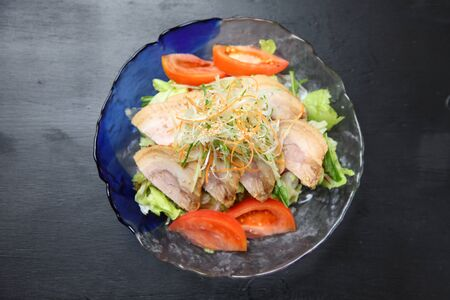 roasted pork vegetables salad