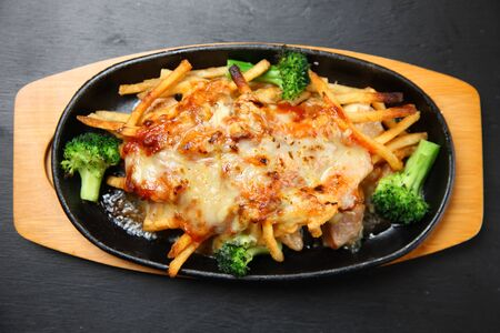 cheese grilled chicken with french fries