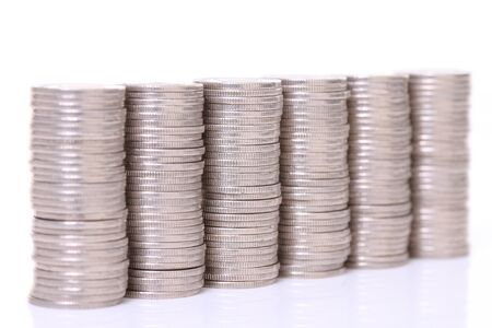 stacked Japanese 100 yen coins lined up