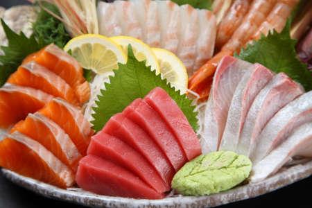 three varieties of fresh sashimi combo Imagens