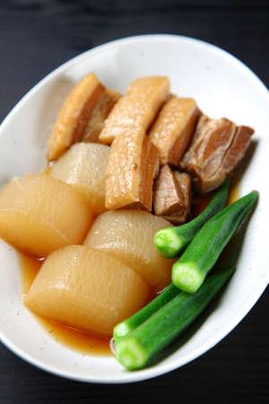 Boiled Radish and Pork on dark background Zdjęcie Seryjne