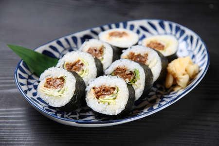 Roasted beef  Norimaki sushi roll