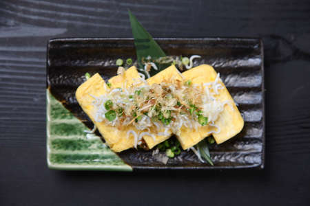 Japanese Rolled Omelet With Young Sardine
