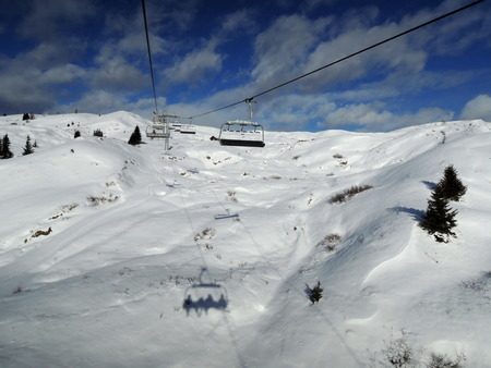 sella: ski lift in Alta Badia resort - Sella Ronda - Italian Alps - Dolomiti Superski