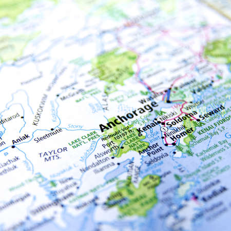 Close-Up Map Of Anchorage, Alaska Stock Photo, Picture And Royalty ...