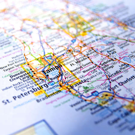 Close-Up mapa Tampa, Florida Foto de archivo - 16743695