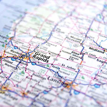 Close-Up map of Grand Rapids, Michigan 新聞圖片