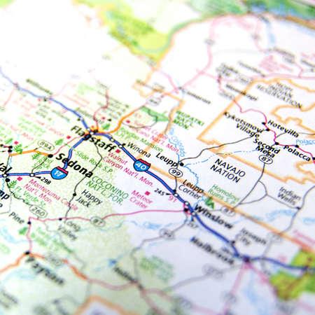 Mapa Primer plano de Sedona, Arizona Foto de archivo - 16743654