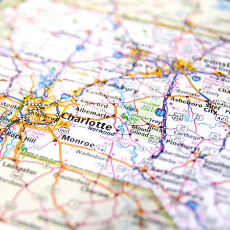 Close-Up Map Of Charlotte, North Carolina Stock Photo, Picture And ...
