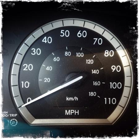 Speedometer close up in car