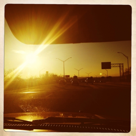 Driving at sunset