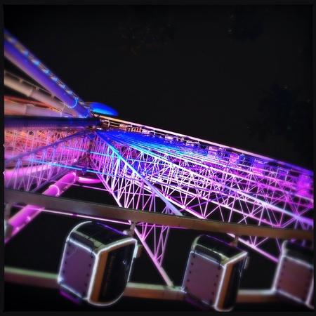 Ferris wheel at night in downtown Atlanta, Georgia USA