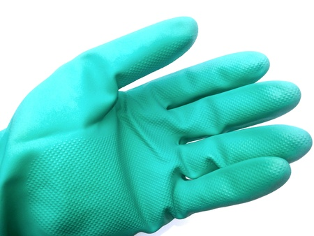 industry: Green glove on isolated