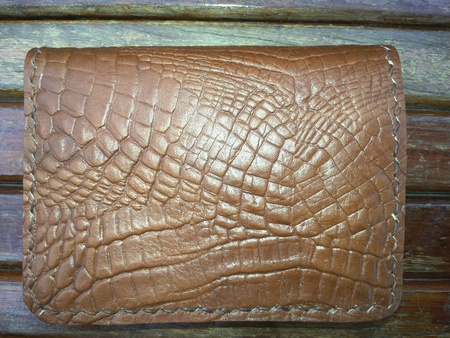 leather bag: leather Bag on wood background Stock Photo