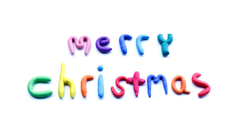 christma: merry christmas multicolored  on isolated background Stock Photo