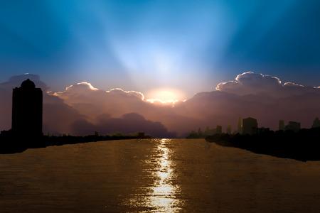 river side: sunset on city river side