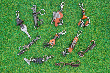 group chain: Group Key chain on grass Stock Photo