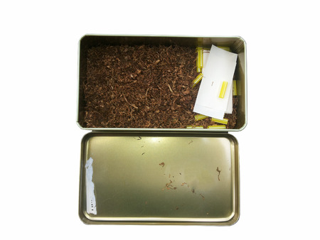 danger box: cigarette case on isolated
