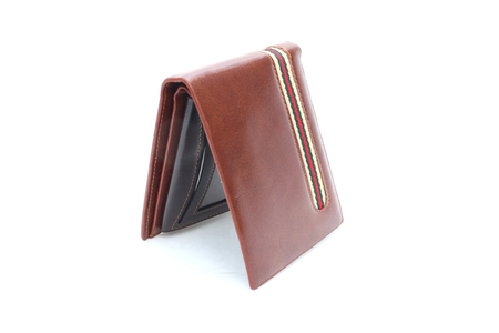Brown Wallet leather on isolated