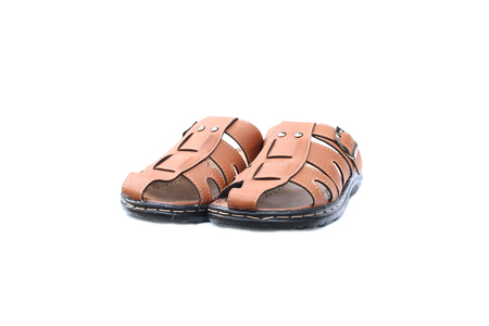 Leather sandals on isolated white