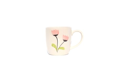 Coffee cup floral patterns on isolated Archivio Fotografico