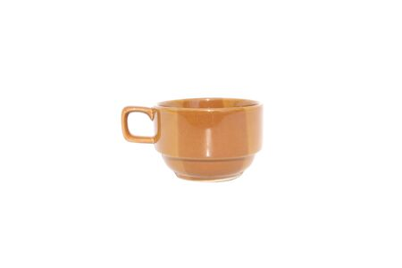 brown ceramic cup on isolated white