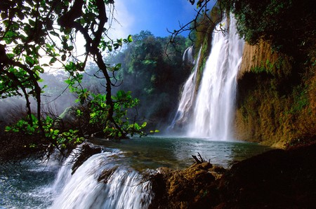 Tropical waterfall in Thailand Thailand is a tourist place and rest.  Stock fotó