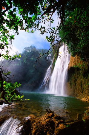 Tropical waterfall in Thailand Thailand is a tourist place and rest.  Stock Photo