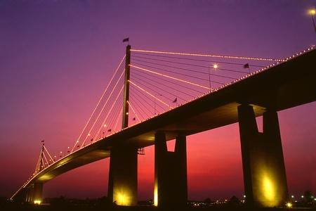 Rama IX Bridge of thailand Stock Photo