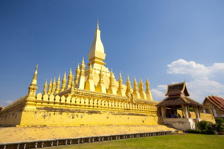 Golden pagada in Wat Pha-That Luang, Vientiane, Laos. Stock Photo