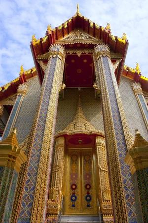 Tile art on the temple wall Wat Ratchabophitsathitmahasimaram Bangkok, Thailand photo