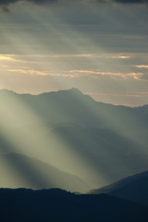 solar rays effect in mountain landscape Stock Photo