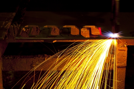 Industrial laser cutter with sparks