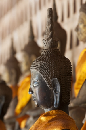 Ancient Buddha sculptures in the cloister of Wat Si Saket in Vientiane, Laos Stock Photo - 24239290