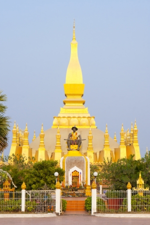 fairly: Golden pagada in Wat Pha-That Luang, Vientiane, Laos  Stock Photo