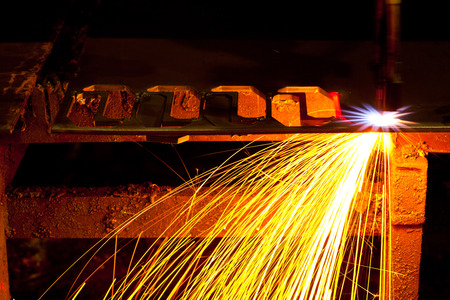 snazzy: Laser Cutting Machine of metal sheet with sparks