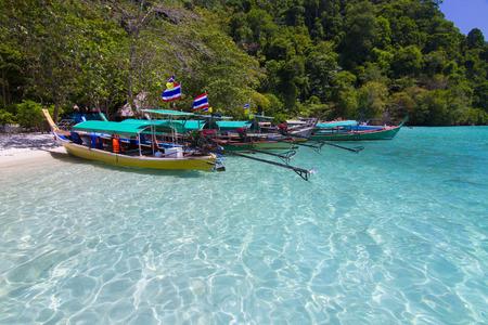 surin: The long-tail boat at surin island, thailand Stock Photo