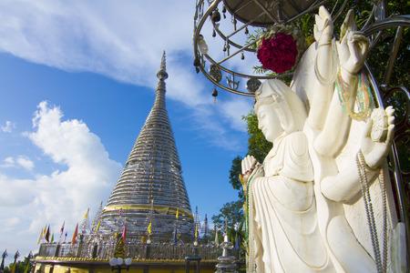Amazing temple on top of the mountain Stainless steel design Phra Maha Chedi Tripob Trimongkol.