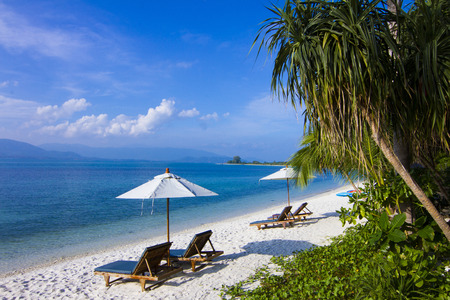 Beds beach koh Matsum Island Koh Samui Thailand.