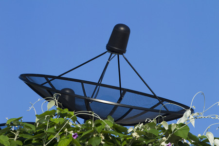 microwave antenna: Satellite dish transmission data on background blue sky